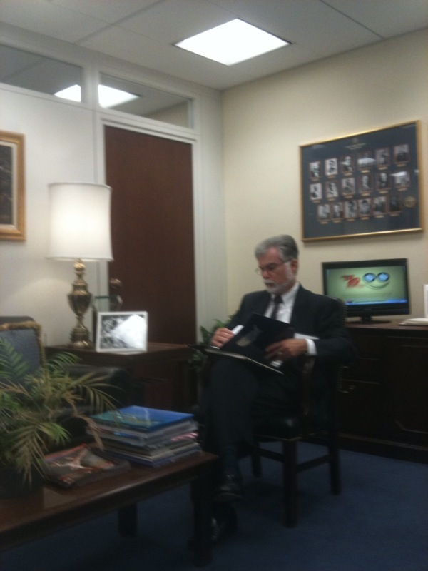 Here I am reviewing notes before meeting with Florida Senator Nelson at National REIA's Day on the Hill.